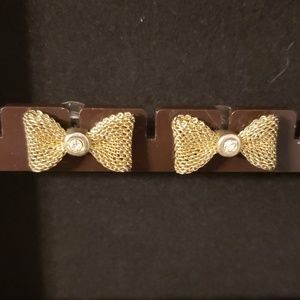 2/$20 Antique Gold Bow Earrings